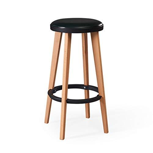 Solid Wood Kitchen Stool Upholstered Round Counter Height Bar Stool Wood Legs 4 Colors Color A Bar Stools Bar Chairs Design Wood Bar Stools