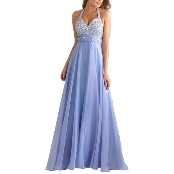 Harshori Womens A-line Chiffon Halter Floor-Length Prom Dress 18 Lavender