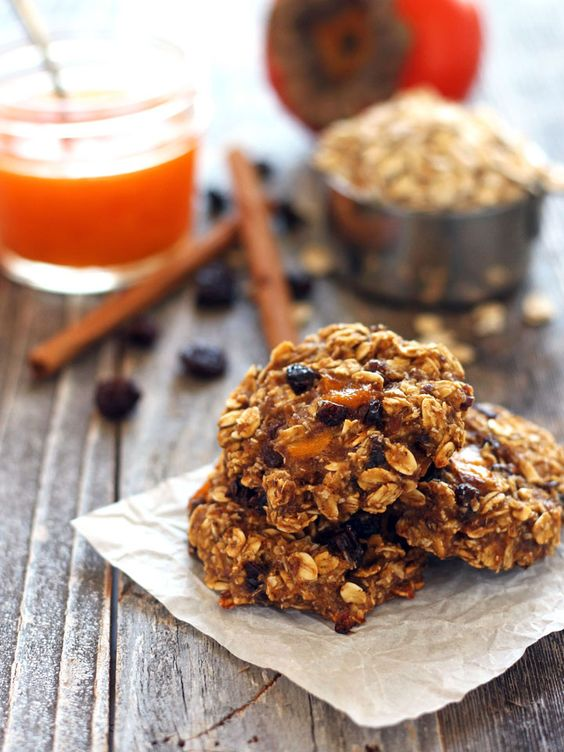 Persimmon Banana Breakfast Cookies. Quick and easy egg-less and dairy-free oatmeal cookies. Sweet Hachiya persimmon pulp, mashed banana and hearty rolled oats in a tasty cookie you can feel good about eating for breakfast.: