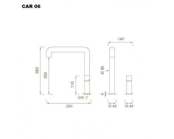 cea CAR 06 WT-Eingriffmischer edelstahl poliert - badart-shop.de