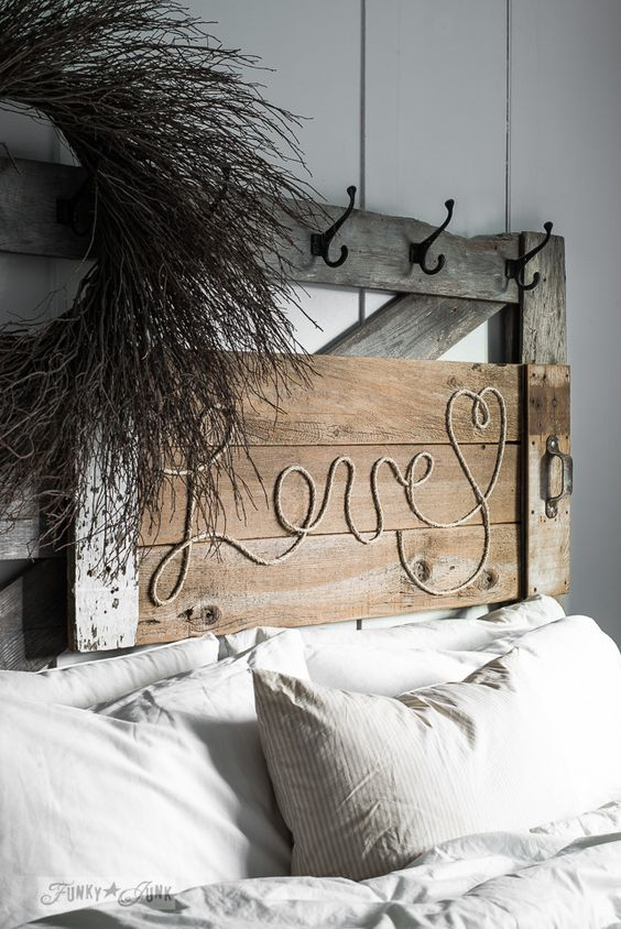 Reclaimed wood Love rope sign on a headboard / funkyjunkinteriors.net
