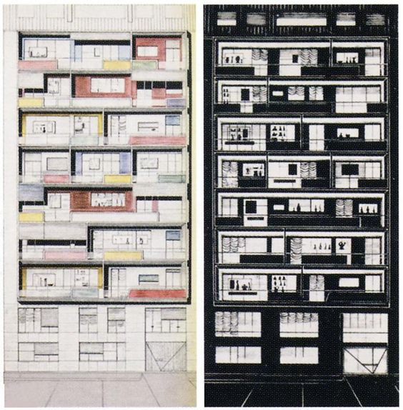 Architectural drawings by Italian modernist Gio Ponti.