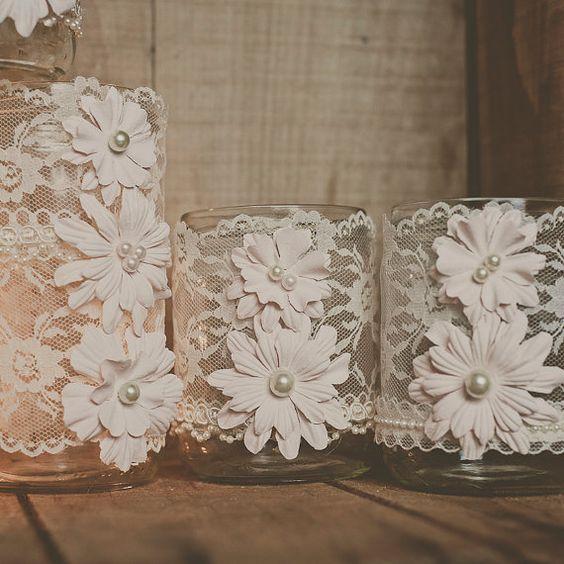 Lace wedding jars centerpiece vintage