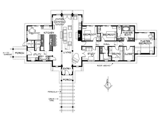 Passive solar solar and ranch floor plans on pinterest for Passive solar ranch house plans