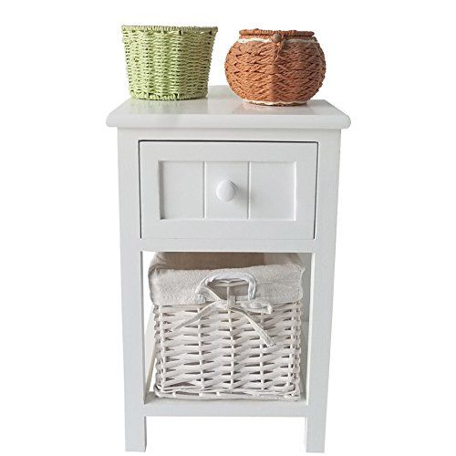 Uniss White Small Wood Nightstand End Tables Bedside Tables With Drawer And Wicker Basket Stor Bedroom Night Stands Bedside Tables Nightstands Small End Tables
