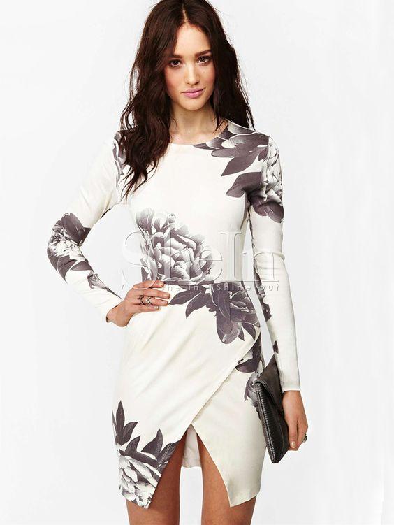 Kleid+Langarm+mit+Blumenmuster,+weiß+22.42