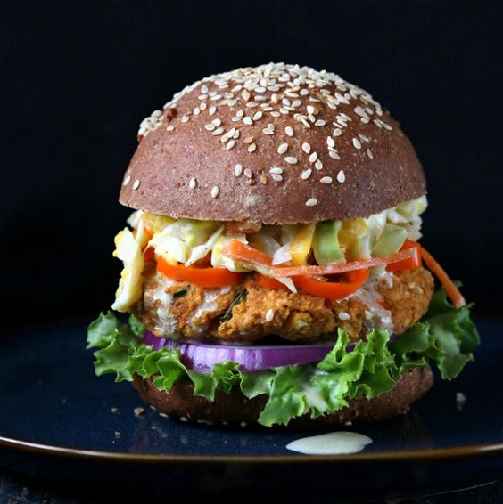 Barbecue Lentil Burger with Mango Carrot Slaw.