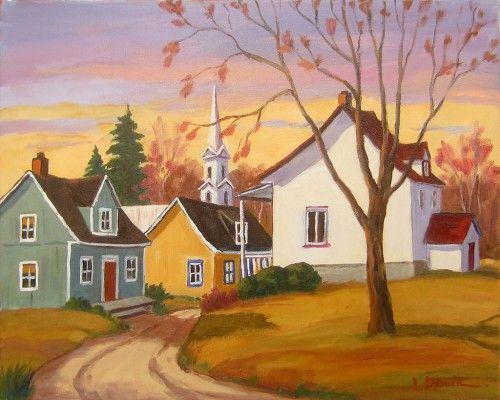 Avril Au Village Paysage Automne Dessin Peinture Sur Toile