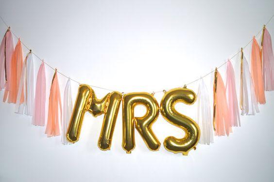 MRS gold letter balloon tassel garland by StephanieShivesStudio.com - pink peach gold - bachlorette party decor - bridal shower