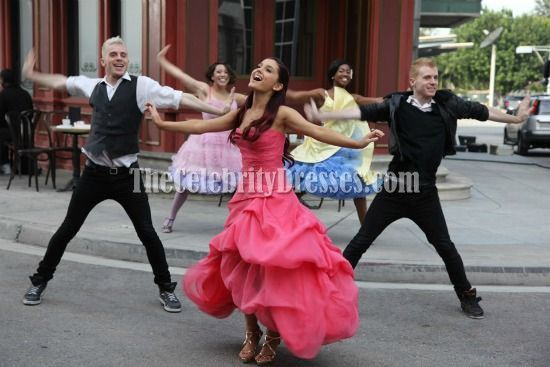 Arianagrande Strapless Promgown Put Your Hearts Up Dress Prom