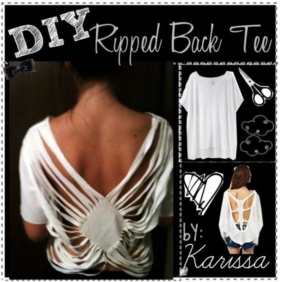 DIY; Ripped Back Tee Shirt