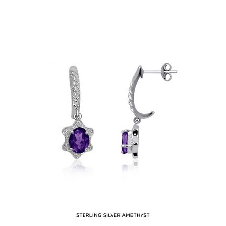 2.20-2.70ctw Genuine Gemstone & Accent White Diamond Earring in Sterling Silver - http://12hourdealsforyou.com/product/2-20-2-70ctw-genuine-gemstone-accent-white-diamond-earring-in-sterling-silver/