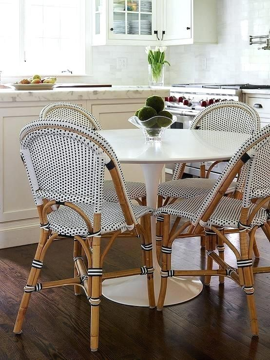 French Kitchen Round Bistro Table Marble Dining With