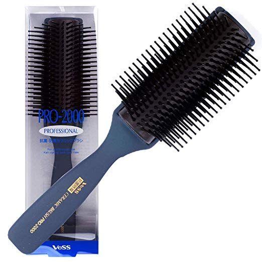 Vess Pro 2000 Professional Hair Brush Tourmaline Ceramic 9 Row Round Tip Curved Pad Anti Static Natural Ru Hair Brush Professional Hairstyles Ceramic Flat Iron