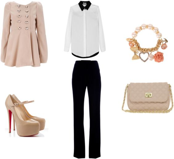 Pale Pink, black/white pant suit outfit