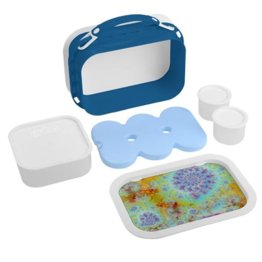 Golden Violet Sea Shells, Abstract Fractal Ocean Yubo Lunch Box