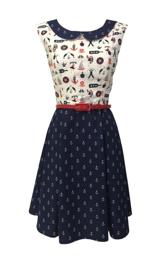 Nautical dress | rockabilly dresses |50s style dresses: