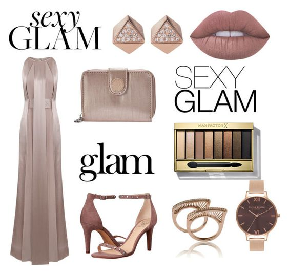 """Glam time"" by avahone ❤ liked on Polyvore featuring beauty, Jessica Choay, Naeem Khan, Vince Camuto, Kipling, FOSSIL, Olivia Burton, Max Factor and Lime Crime"