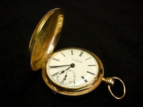"""Pocket Watch, c. 1855, marked by English maker """"E.S. Yates & Co. Liverpool"""", owned by Robert Evander McPherson, a soldier in the 8th SC Volunteers. McPherson noticed that his coat was w/out pockets. His wife sewed one in, thus allowing him to carry his gold watch off to battle with him. July 1862, McPherson was mortally wounded at Malvern Hill. In an effort to properly identify her husband's remains, Mrs. McPherson searched out the pocket & found this watch still inside. Charleston Museum."""