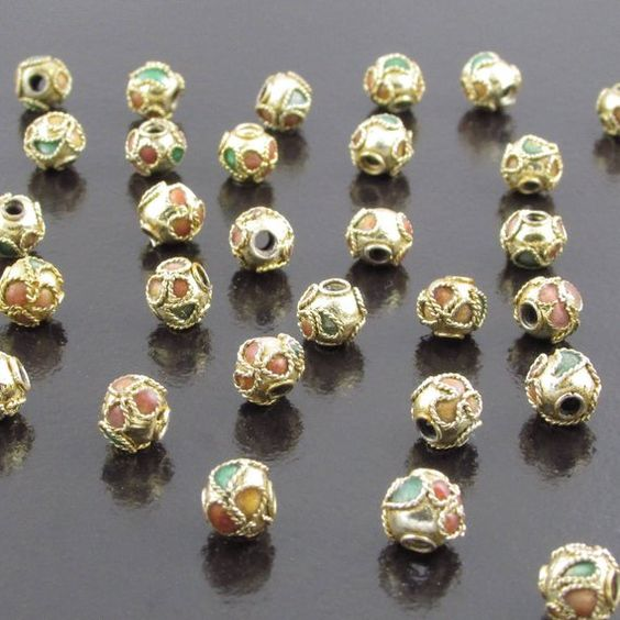 6 Gold Plated Brass Double Sided 23x14mm Blue Cloisonne Fan Beads