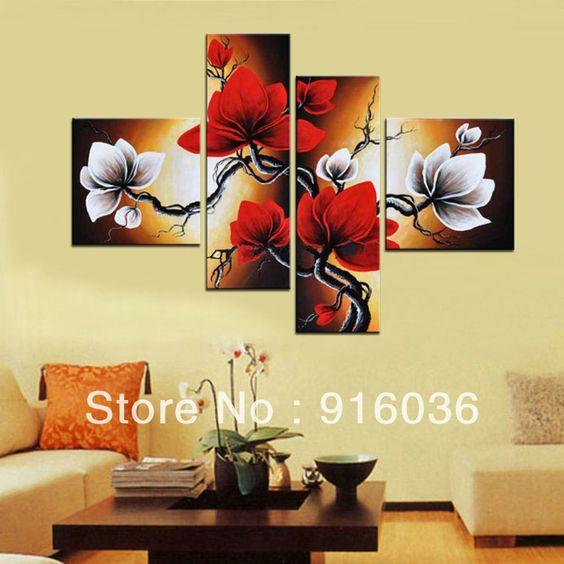 <font><font>4 panneaux Le Grand main à l'huile abstraite moderne Image Haute-Qu toile de peinture décorative de mur d'art de la peinture pt143 fleur</font></font> US $ 77.60 - 120.50