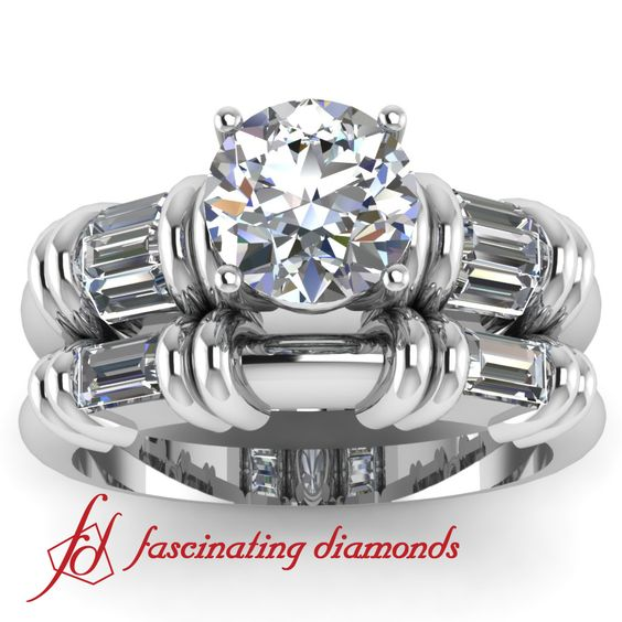 Gorgeous round ideal cut diamond engagement rings channel set in white