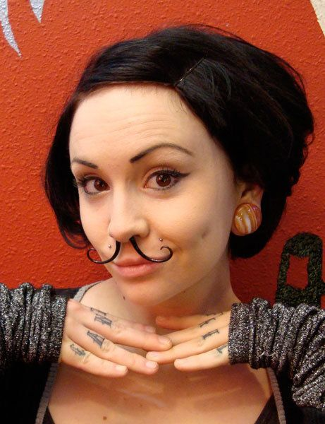 Okay so I think I'm in love.  Glass moustache for your septum piercing.  My Halloween costume is done.
