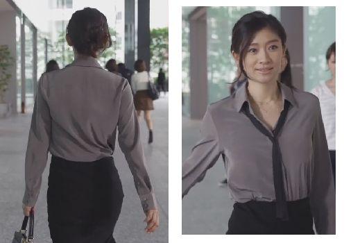 グレーのシャツを着た篠原涼子