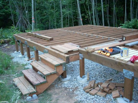 Tiny house foundation and metals on pinterest for How to build a post and pier foundation