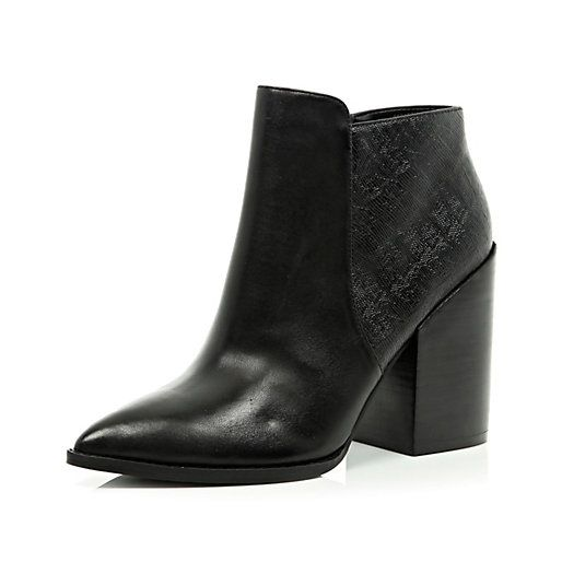 Womens black leather pointed toe boots