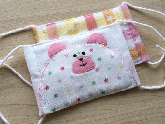 柄が選べる‼︎ 子供用 くまちゃんマスク2枚セット☆ 星ピンク | ハンドメイドマーケット minne