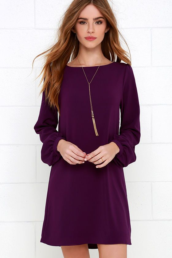 Perfect Situation Purple Long Sleeve Shift Dress | Funeral dress ...