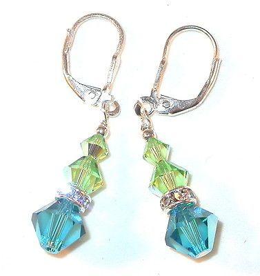 Swarovski Crystal Elements Sterling Silver Earrings Peridot Indicolite Teal   eBay