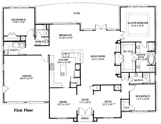 Simple one story house plan House plans Pinterest House