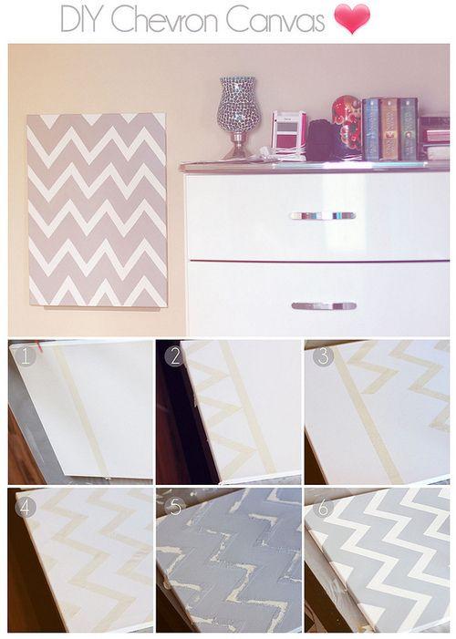 DIY Room Decor Chevron Canvas