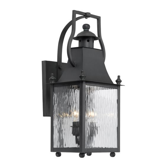 Plantation 2-Light Outdoor Wall Lantern in Solid Brass in a Charcoal