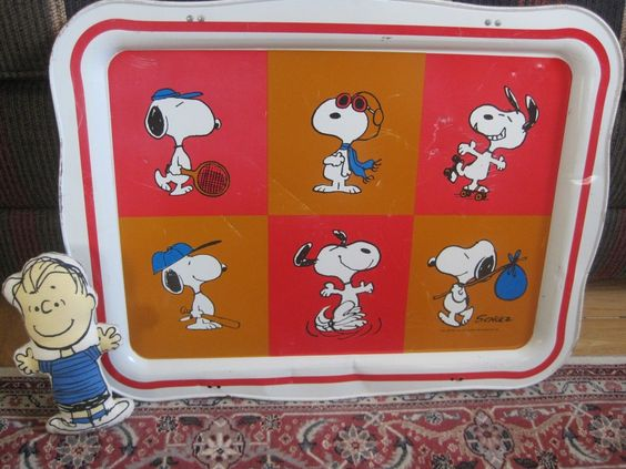 Vintage Peanuts 1965 Snoopy TV Tray 1952 Linus Doll United Features Syndicate | eBay