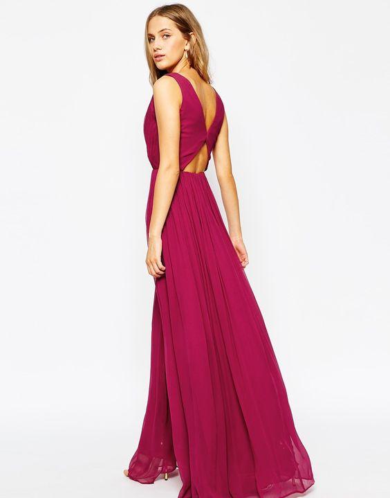 Mango Open Back Maxi Dress With Front Split - Maxi Dresses ...