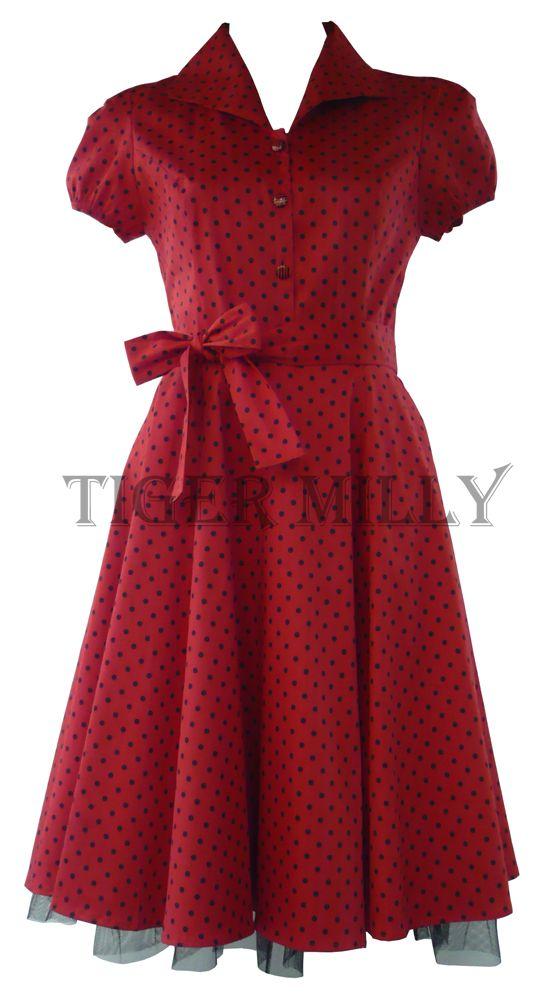 H London 50's Tea Small Polka Dot Dress Red & Black UK Size 8-18