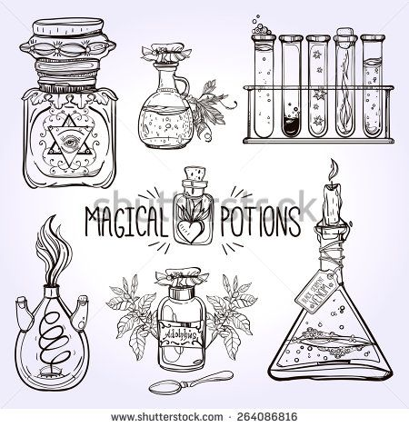 Set of beautiful ornate potion bottles. Chemistry, science, alchemy and magic, religion, philosophy, spirituality, occultism. Design and tattoo elements. Vector illustration.