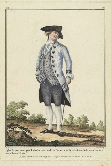 """Gallerie des Modes, 1781 """"habit de petit…"""" I love this look- all pieces in the blue/grey spectrum but none matching exactly.:"""