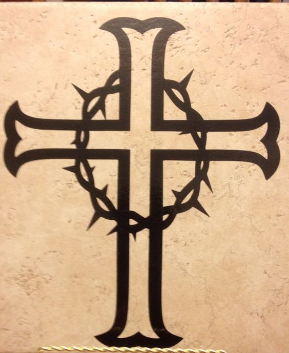 cross with crown of thorns decal by 3blessedchix on etsy crafts pinterest black. Black Bedroom Furniture Sets. Home Design Ideas