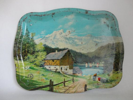 country cabin by the lake...VINTAGE former tv TRAY turned wall hanging, from buyoldschool $15.00, .