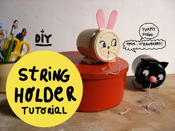 DIY Vintage-Inspired String Holders –super cute and super handy!
