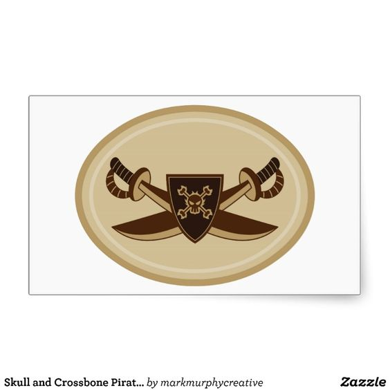 Skull and Crossbone Pirate Swords Rectangular Stickers