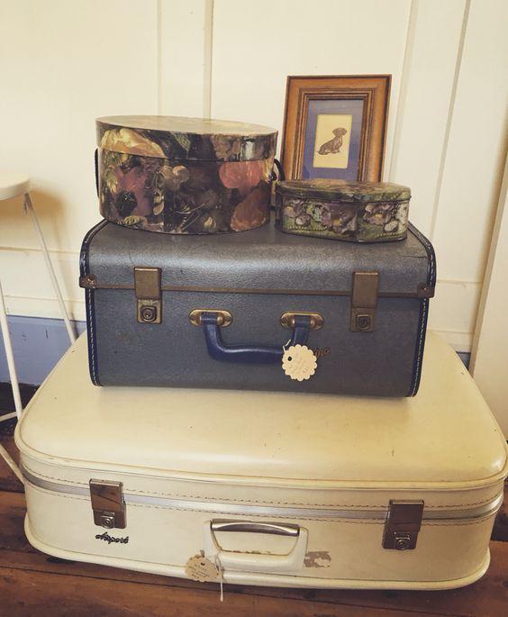 Rust Emporium~vintage blue suitcase $25~vintage cream suitcase $35 ...