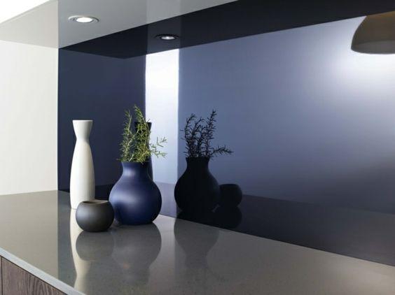 Glas\/Plexiglas Küchen-Rückwand mit Folie drunter Küchenrückwand - küchenrückwand aus plexiglas