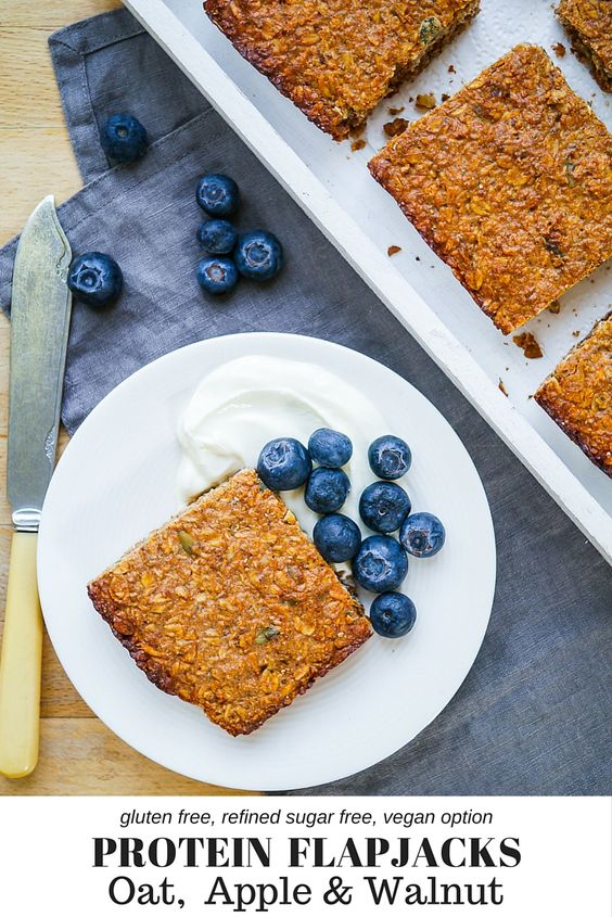 Oat, Apple & Walnut Protein Flapjacks #healthy #dessert #recipe #protein #breakfast #oat #apple #flapjack #bar