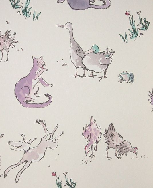 http://www.fabricsandpapers.com/item/view/5314-quentins-menagerie-wallpaper  Quentin's Menagerie Wallpaper Wonderful Quentin Blake designed wallpaper of lilac farmyard animals on a light cream background