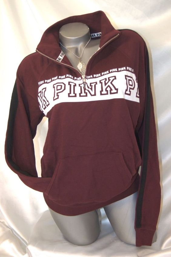 XS, EXTRA SMALL~VICTORIAS SECRET PINK QUARTER ZIP SWEATSHIRT ...